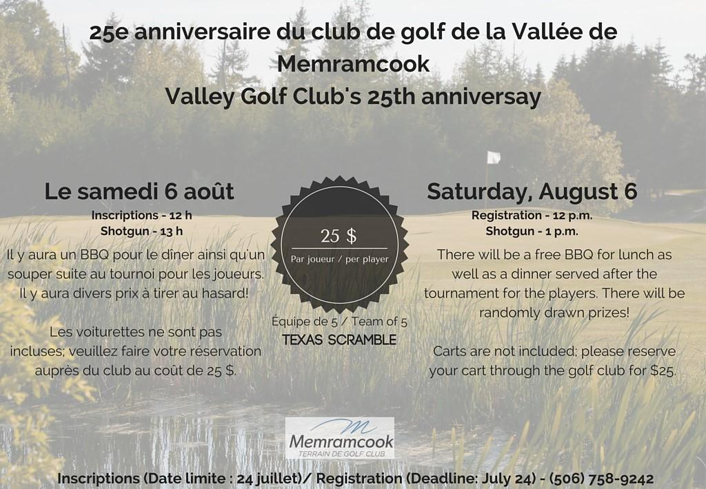 25e anniversaire tu club de golf de la Vallée de MemramcookValley Golf Clubs 25th anniversay